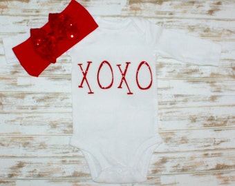 XOXO Red Glitter Valentine Clothing-Valentine's Day Outfit