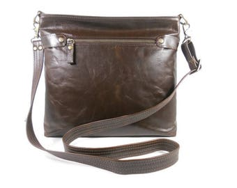 Fine Leather Crossbody Bag for Women, Leather Messenger Bag, Shoulder Bag with Zipper, Leather Purse with Pockets, Made in USA