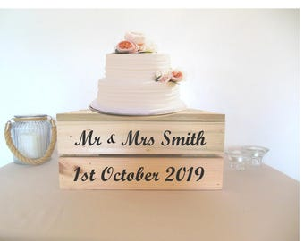 """Pesonalised Hand Built Wooden Cake Stand - 1 or 2 Tier, Whitewash or Natural, 14"""" or 18"""" Square!"""