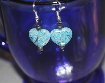 Blue millefiori lampworks glass heart bead
