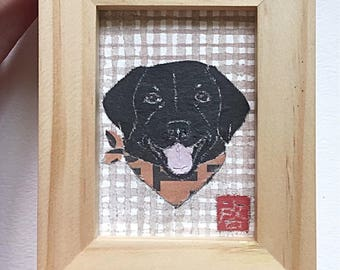 Black Lab Art,Black Lab Gifts, Labrador Retriever, ACEO Original