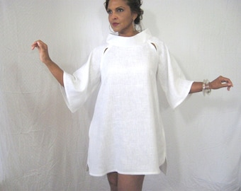 White Linen Modified Swing Dress/Top, Raglan Sleeves, Shaped Hemline, Pockets, Day Or Evening, All White Event, Above Knee, High Fashion