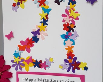 Personalised ANY Age Flower Number Birthday Card 3D ANY AGE 18th 21st 30th 40th 50th 60th 70th 80th 90th 100 Handmade BD90