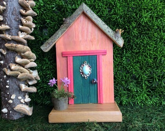 Teal Fairy Door with Vintage Rhinestone Jewelry Piece
