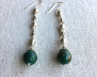 Malachite gemstone silver dangle statement earrings
