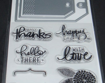 Art C Stamp and Cut- Clear Stamps and Dies *Tags* 10 pieces