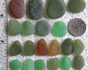 20 Sea Glass Beads Drilled 1.5mm holes Jewelry Quality Supplies (1924)