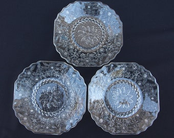 Set of 3 Indiana Glass Pineapple and Floral 6-inch Bread & Butter Plates