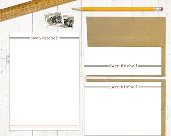 complete personalized stationery set - DOUBLE LINES  - personalized stationary set - note cards - notepad - choose color
