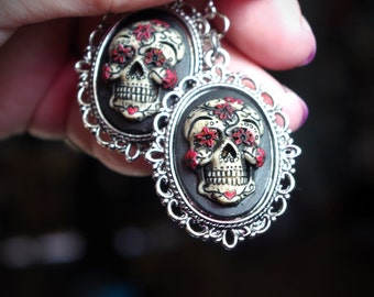 Pair Black and Red Sugar Skull Day of the Dead Dia De Los Muertos Hand Made Sterling Silver Ear Wires Earrings
