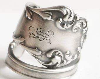 Silver Rococo Ring, Sterling Silver Spoon Ring, Mono K, Antique Spoon Ring, Watson Arkeba ca 1900, Handmade Gift, Adjustable Ring Size, 6720