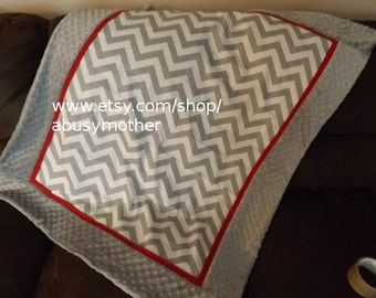 Baby blanket quilt bedding gray and red chevron minky dot