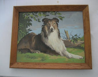 paint by number framed Collie painting