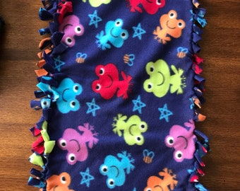 Baby security blanket/teether royal blue frogs