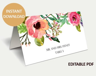 Instant Download - DIY Printable Place Cards - Wedding Place cards Template- Isabella Editable Place Cards - PDF file