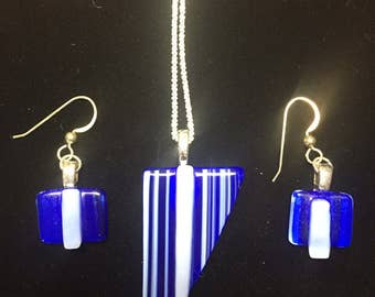 Feeling Blue? Let everyone know with this stunning blue glass and sterling jewelry set.