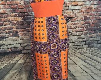 1960's Psychedelic Dress/Vintage Hippie Maxi Dress/ Festival Dress/ Empire Waist/ Hipster Dress