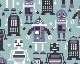 Robots Light Blue Fabric by Maude Asbury - Autobots - The Planet Buzz Collection - Blend Fabrics / Quilting Fabric One Yard