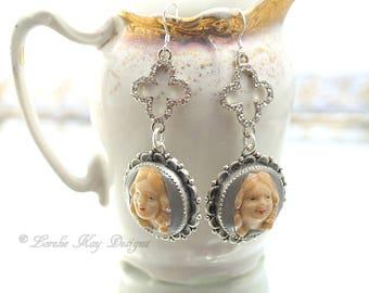 Funny Face Doll Head Earrings Long Sterling Silver Hook Rhinestone Doll Jewelry Earrings Dangle Earrings Lorelie Kay Original