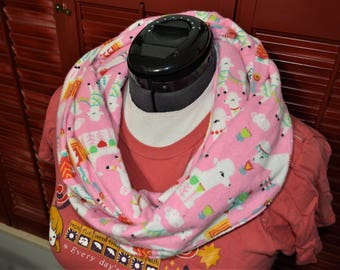 Pink and White Infinity Scarf with Colorful Llama Pattern 100% Cotton Flannel Preshrunk