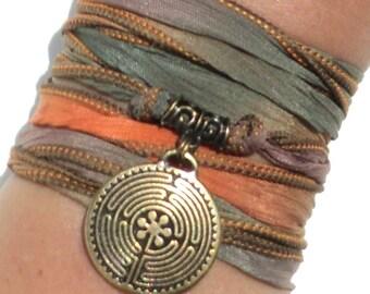 Labyrinth Silk Wrap Bracelet Yoga Jewelry Path Maze Journey Autumn Earthy Fall Love Stocking Stuffer Yogi Gift M58 Bohemian Earth Designs