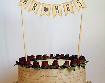 Mr & Mrs Wedding Cake Topper Pennant Rustic Vintage Banner