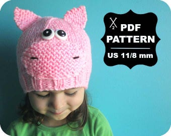 English-French Two Needle KNITTING PATTERN / Digital Download / #45 / Knitted Pig Hat / 6-16M to 5 years-Adult / US11 / 8mm