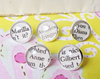 Anne of Green Gables Push Pin Set - Thumbtack Silver Gilbert Blythe Diana Barry Marilla - Bookworm Gift Office Supplies Homewares Decoration