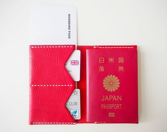 Leather Passport Holder, Leather Passport Cover, Leather Passport Sleeve, Passport Wallet - Red