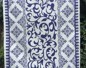 Cotton dish towel, white & Blue