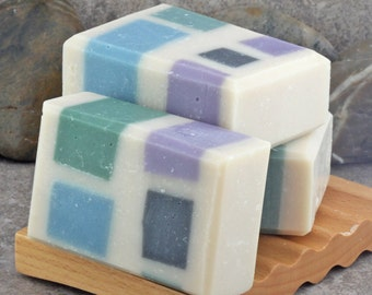 A Taste of the Tropics - Coconut, Mango and Pineapple Geometric Artisan Bar Soap