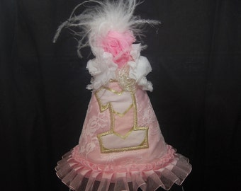 Birthday Hat, Shabby Chic party hat, pink and gold lace, roses and lace, 1st birthday hat, perfect party hat for a little princess