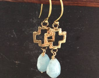 Aquamarine nugget earrings, gold cross long boho earrings, March birthstone, faith religious iconic earrings, gift for her by Mollymoojewels