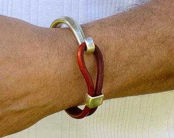 Mens Leather Cuff Bracelet, Deep Red Leather Bracelet, Mens Silver Cuff Bracelet, Mens Leather and Silver Bracelet, Silver Hook Bracelet