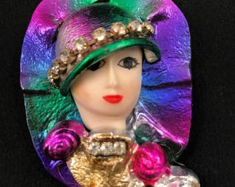 80's Art Noveau Flapper Brooch