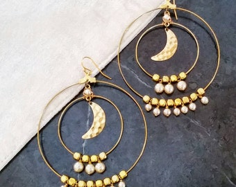 Romantic Bohemian Moon Hoop Earrings