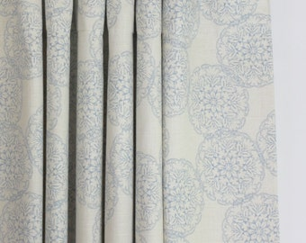 John Robshaw Danda for Duralee Custom Drapes (shown in Light Blue-comes in 4 colors)