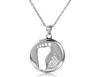 "16+2"" Sterling Silver CZ Stone Set Cut Out Foot Print Pendant Necklace(plSTP01504)"