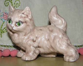 Cat Figurine,  Cream Calico Kitten Green Eyes, Miss Kitty, Cat, Kitten, Meow purrrfect Pet Sweet, Cat's Meow, Ceramic Feline