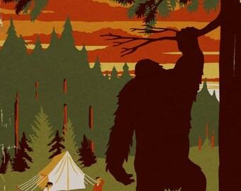 Port Townsend, Washington - Home of Bigfoot - Lantern Press Artwork (Art Print - Multiple Sizes Available)