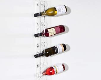 Wall Wine Bottle Display | Wine Bottle Rack | Wall Mounted Wine Bottle Holder | Clear Acrylic Wine Rack | Premium Acrylic | Made in the UK