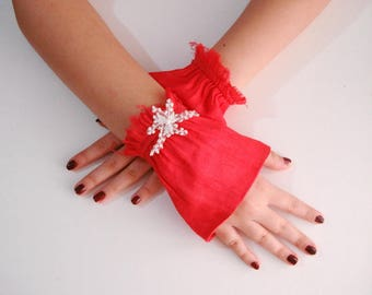 Red fingerless gloves, Red lace gloves, Red Wrist Cuff Sleeve Extender