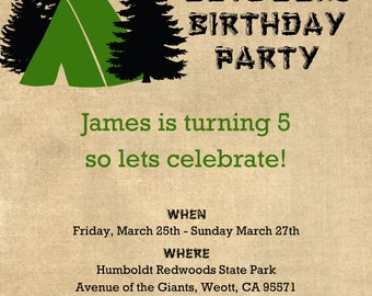 "Great Outdoors Birthday Invitation 5""x7"" Custom Digital Card"