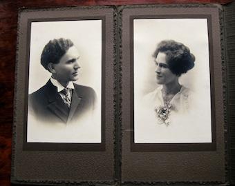 Charming couple! Large vintage photograph portfolio. Lusk Studio of Saskatoon. Old photos. Collage images. Mixed media
