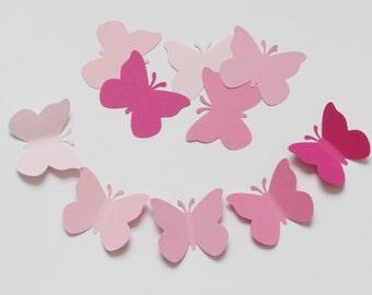 "PINK  paper BUTTERFLY die cuts butterfly die cuts butterfly cut outs pink butterflies size 2""x 1.75"""