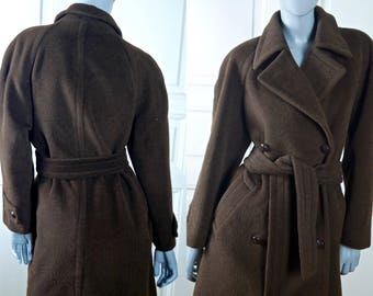 1980s Vintage Alpaca Coat, Dark Brown Alpaca-Wool British Vintage Warm Winter Coat, Wool Belted Trench Coat: Size 12 (US), Size 16 (UK)