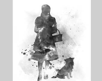 Dorothy and Toto Inspired ART PRINT illustration, Black and White, Wizard of Oz, Wall Art, Home Decor, Nursery, Gift