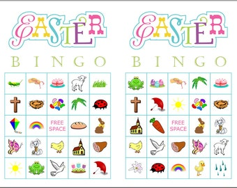 Easter Picture Bingo Game Cards, 200 cards, 2 per page, immediate pdf download