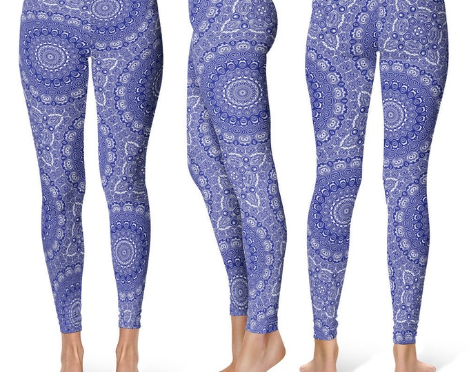 Midnight Blue Leggings Yoga Pants, Printed Yoga Tights for Women, Blue and White Mandala Pattern