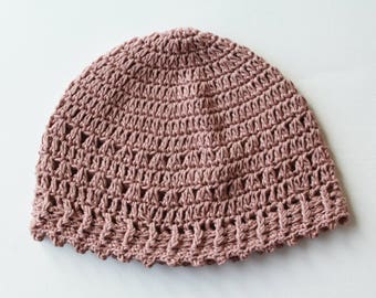 Summer beanie hat, crochet, women, organic cotton hat, beach, camping, festival, casual cap, chestnut brown, vegan beanie, eco friendly yarn